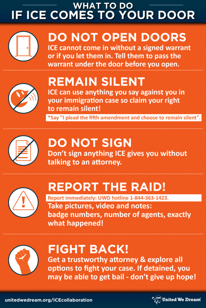 Infographic: What to do if ICE comes to your door.